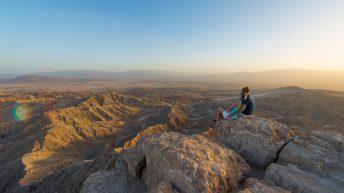 Anza-Borrego Desert, California, USA. Font's Point. Couple. Family. Grand Desert View at Sunset