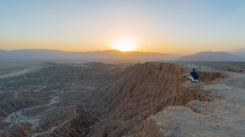 Anza-Borrego Desert, California, USA. Font's Point. Couple. Family. Grand Desert View. Sunset.