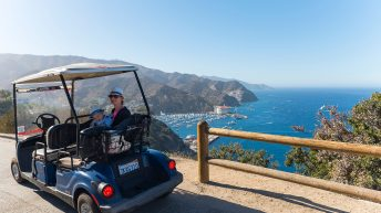 Catalina Island, Chanel Islands National Park, California, Casino View. Pier View. Gold Cart Ride. Mountain Range. Ocean View.