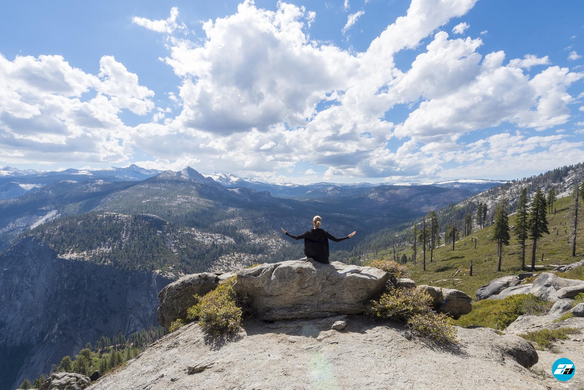 Yosemite National Park, California, USA. Landscape. Woman. Solitude. Mountain View. Glacier Point. Mountain Peaks