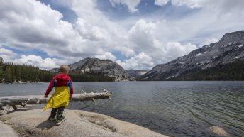 Yosemite National Park, California, USA. Landscape. Lake View. Boy.