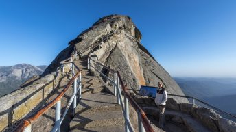 Sequoia National Park, California, USA. Moro Rock stairs. Scary climb.