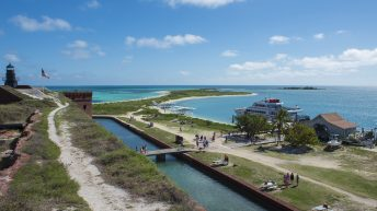 Dry Tortugas National Park FL USA. Fort Jefferson. Visitors arrival