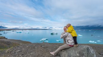 Iceland Travel, Ring Road, Jökulsárlón / Glacier Lagoon. Mother and Son. Happy Family.