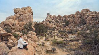 Joshua Tree National Park, California, USA. California Attraction & Travel. Yoga Stance. Relaxation.