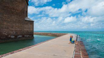 Dry Tortugas National Park FL USA. Fort Jefferson. Child resting