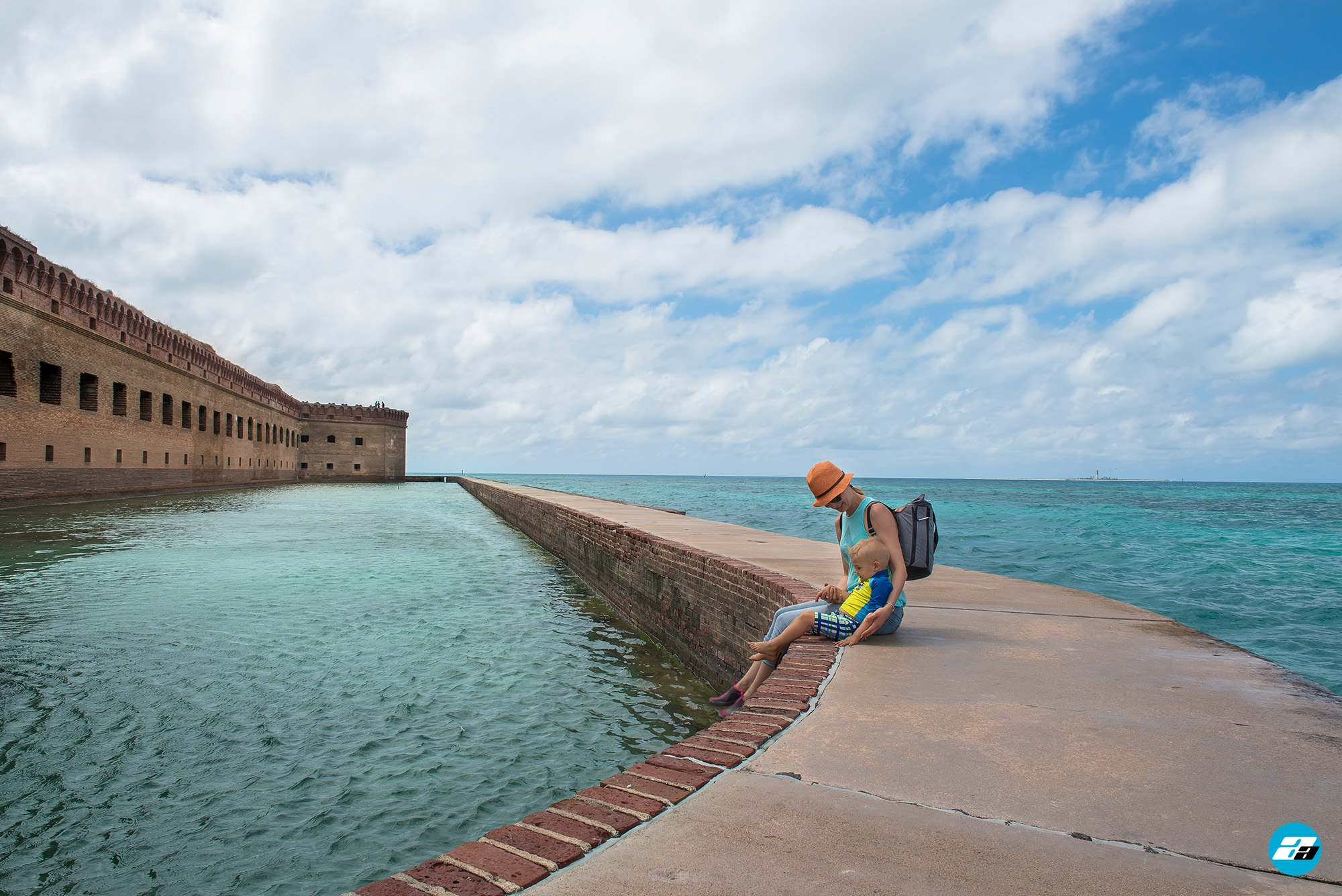 Dry Tortugas National Park FL USA. Fort Jefferson. Mother and child.