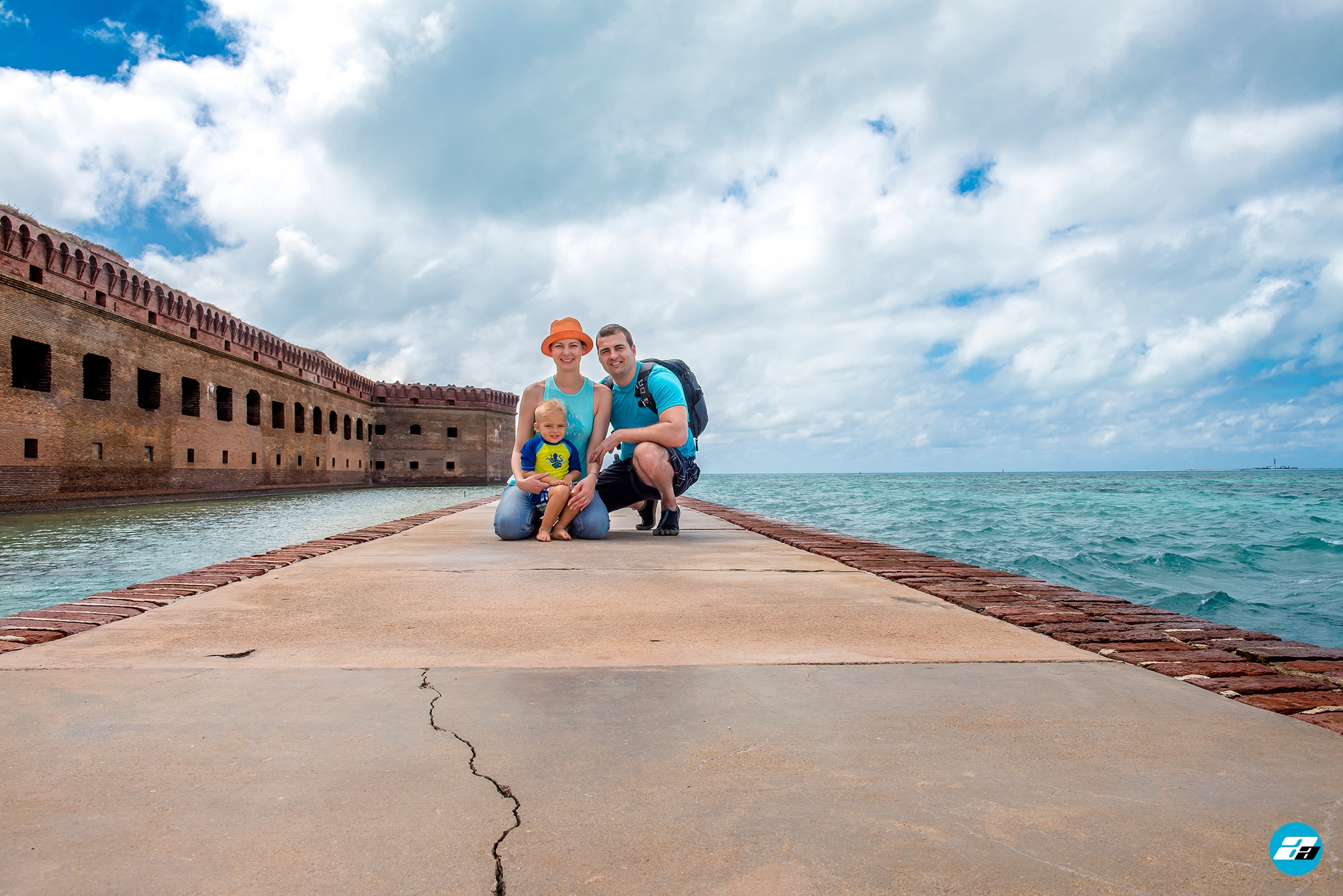 Dry Tortugas National Park FL USA. Fort Jefferson. Family adventure. Happy family with child