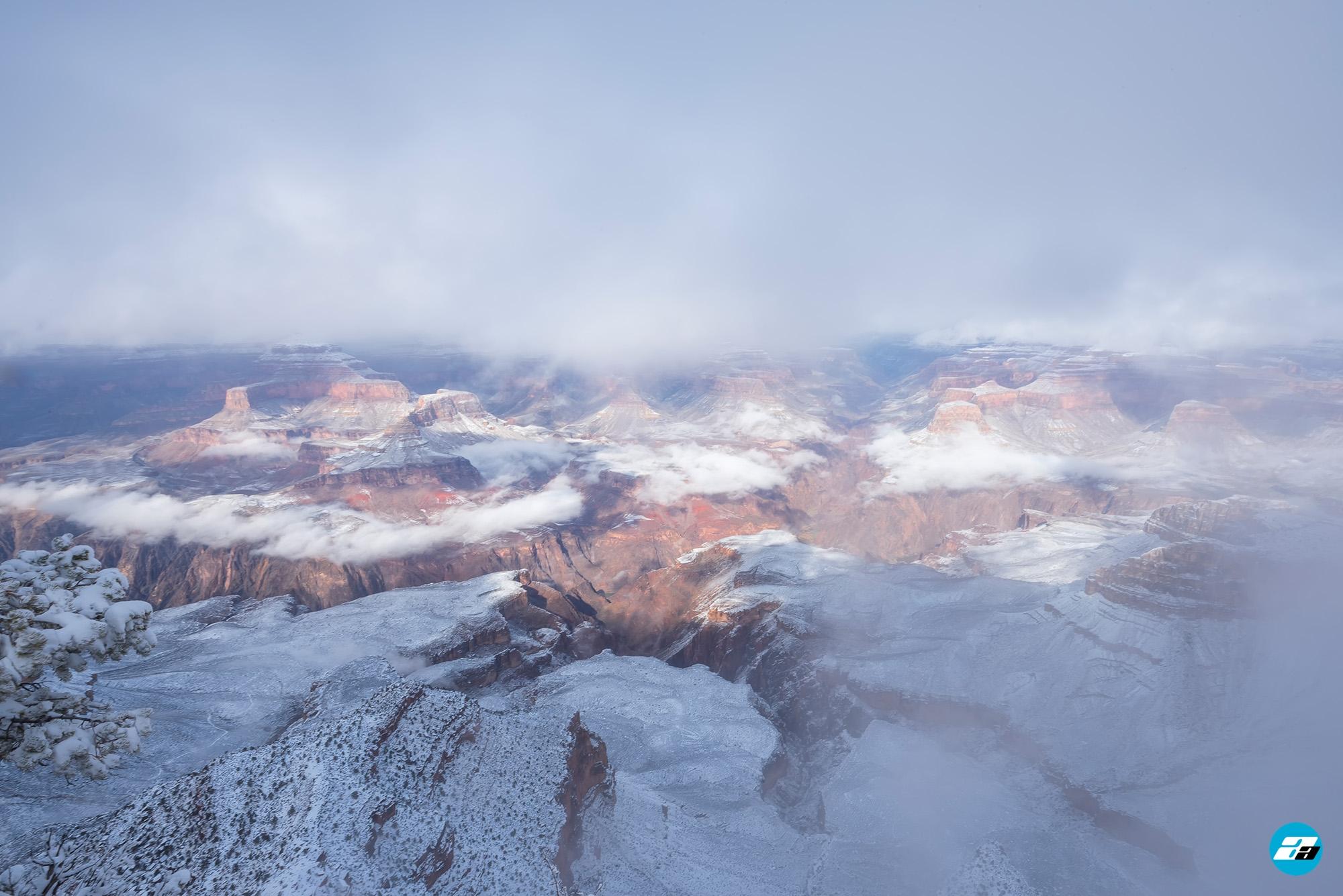Arizona, USA. Canyon View. Explorer. Winter Season. Arizona Attraction & Travel. Canyon Snow.