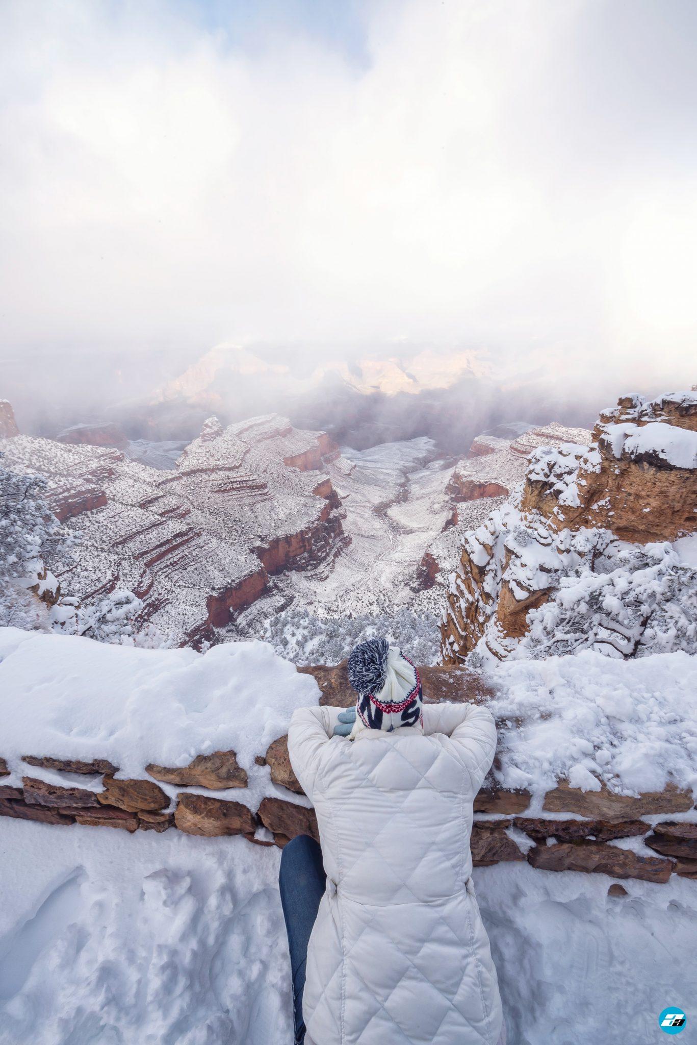 Grand Canyon National Park, Arizona, USA. Canyon View. Explorer. Winter Season. Arizona Attraction & Travel. Canyon Snow.