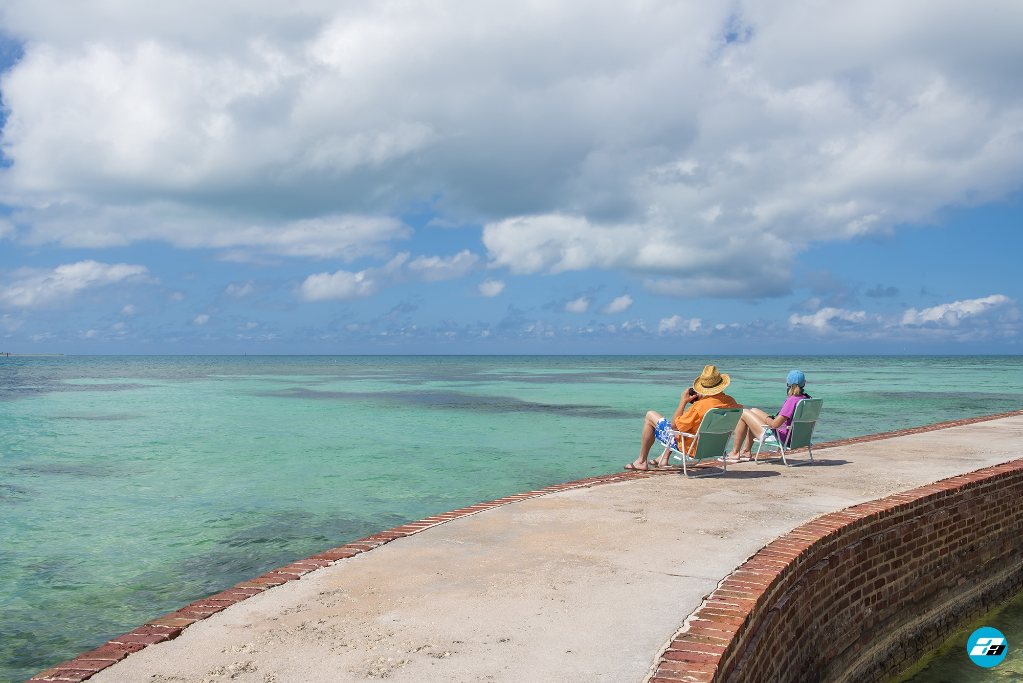 Dry Tortugas National Park FL USA. Fort Jefferson. Visitors resting.