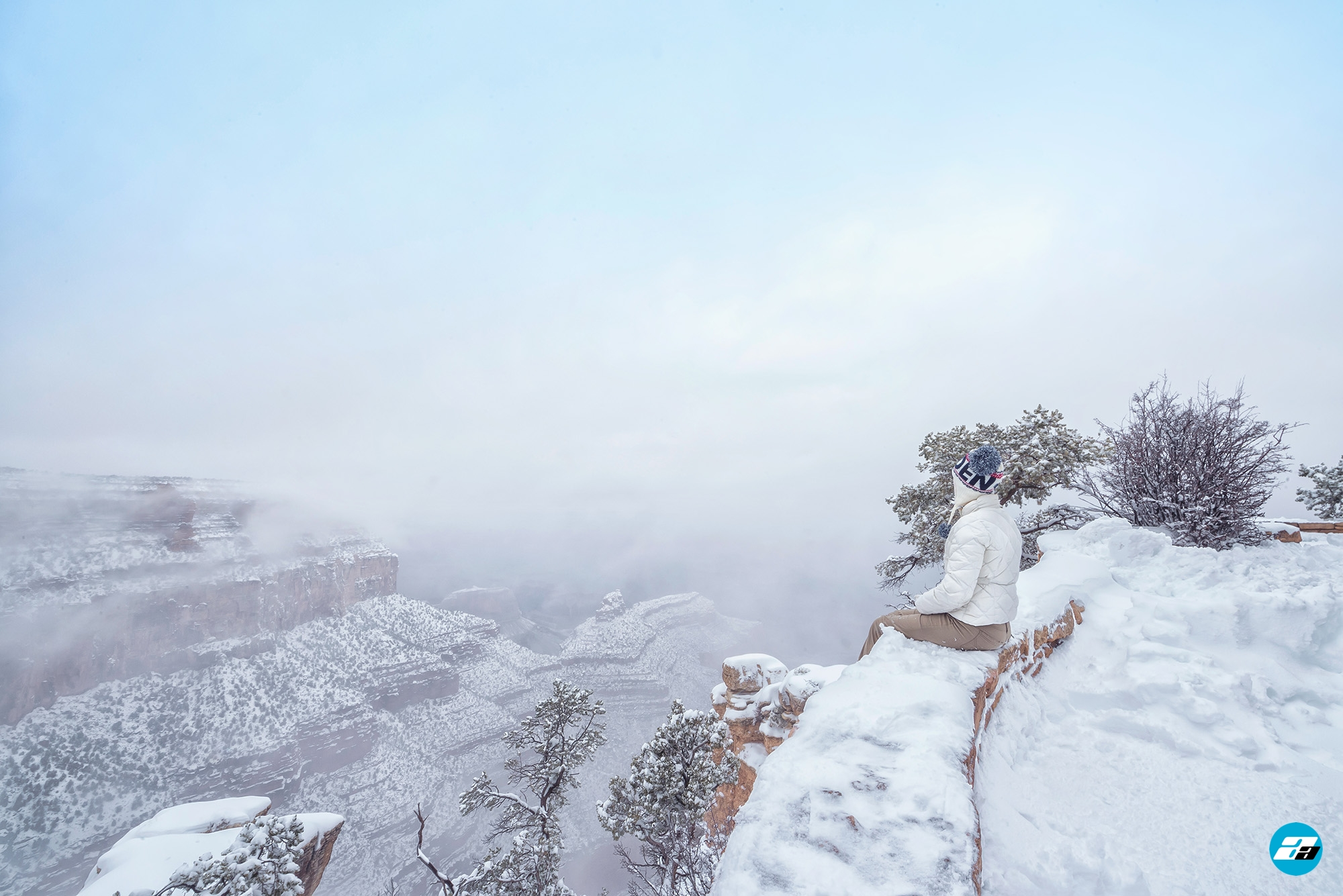 Grand Canyon National Park, Arizona, USA. Canyon View. Explorer. Winter Season. Arizona Attraction & Travel. Canyon Snow. Fog & Mist.