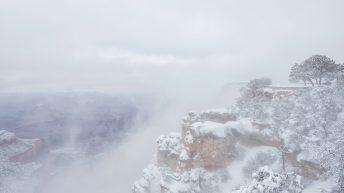 Grand Canyon National Park, Arizona, USA. Canyon View. Winter Season. Arizona Attraction & Travel. Canyon Snow. Fog View.