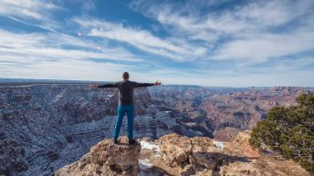 Grand Canyon National Park, Arizona, USA. Canyon View. Explorer. Winter Season. Arizona Attraction & Travel. Canyon Snow. Traveler.