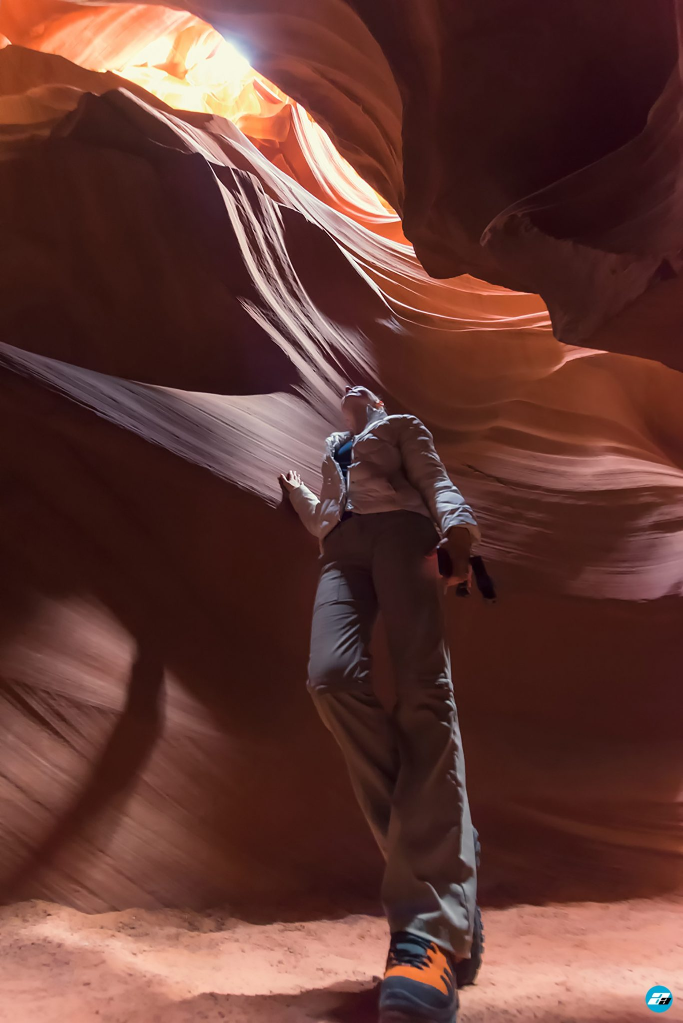 Antelope Canyon, Arizona, USA. Canyon view from the bottom. Amazing View. Antelope Canyon sunlight. Town of Page.