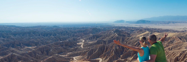 Anza-Borrego Desert, California, USA. Font's Point. Couple. Family. Grand Desert View