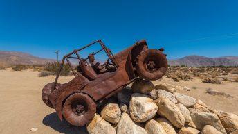 Anza-Borrego Desert, California, USA. Galleta Meadows. Metal Jeep. Ricardo Breceda Sculptures