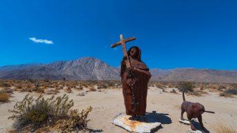 Anza-Borrego Desert, California, USA. Priest and Dog Statue. Ricardo Breceda Sculptures