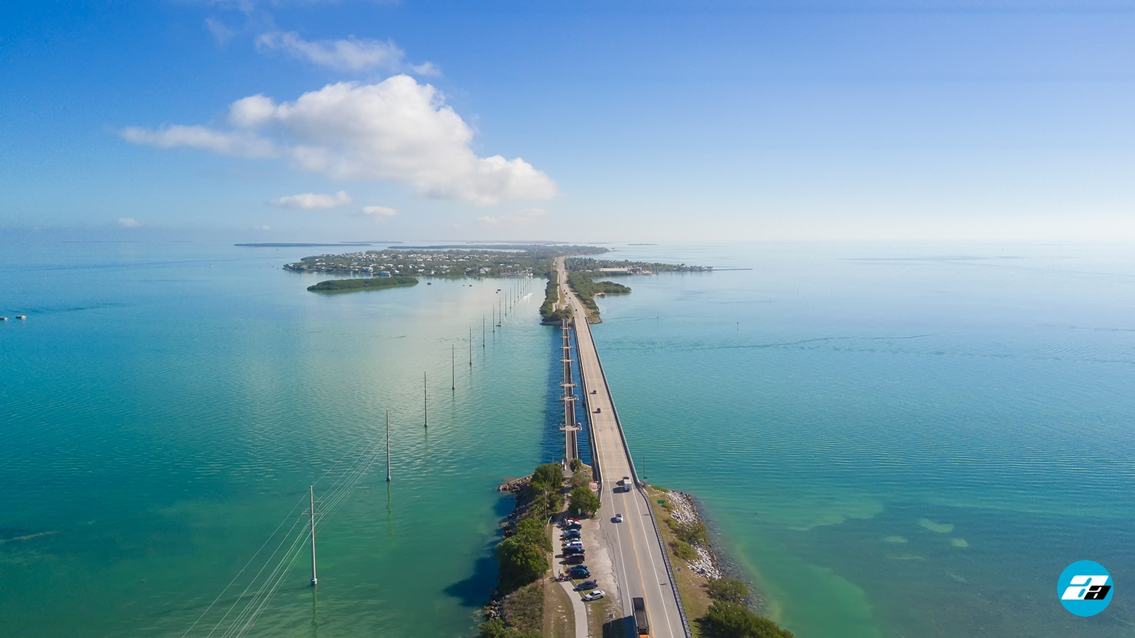 Overseas Highway, FL USA. Road to Key West. Aerial View