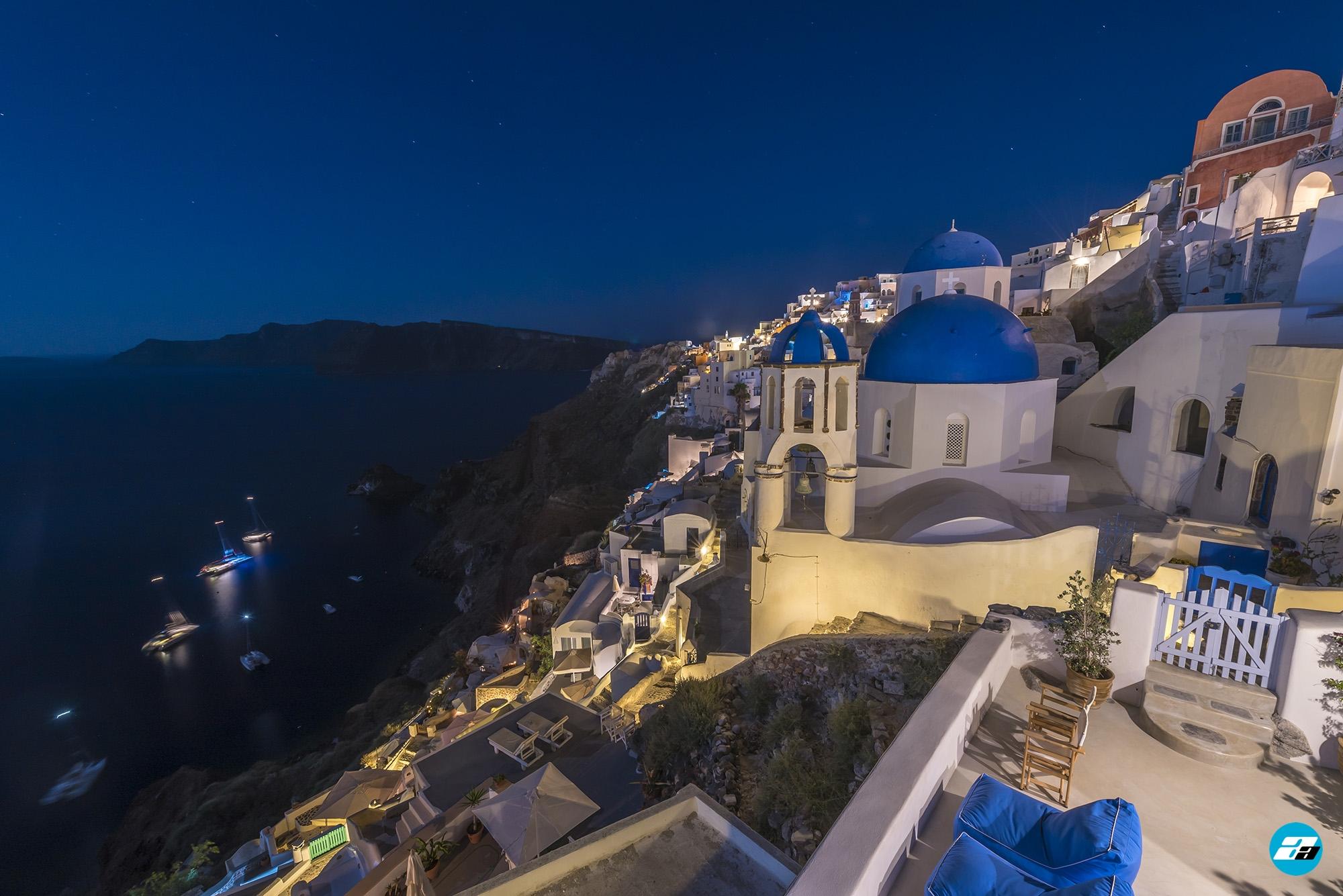 Oia, Santorini, Greece. Santorini Travel. Oia at night. Santorini at night