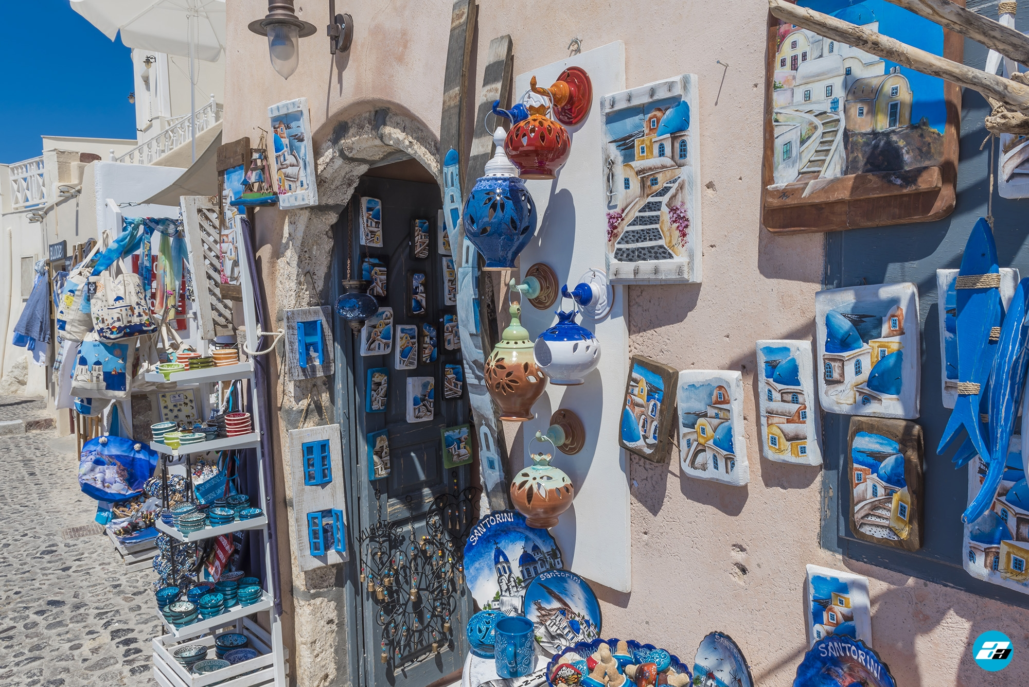 Oia, Santorini, Greece. Santorini Travel. Oia street business. Santorini merchant