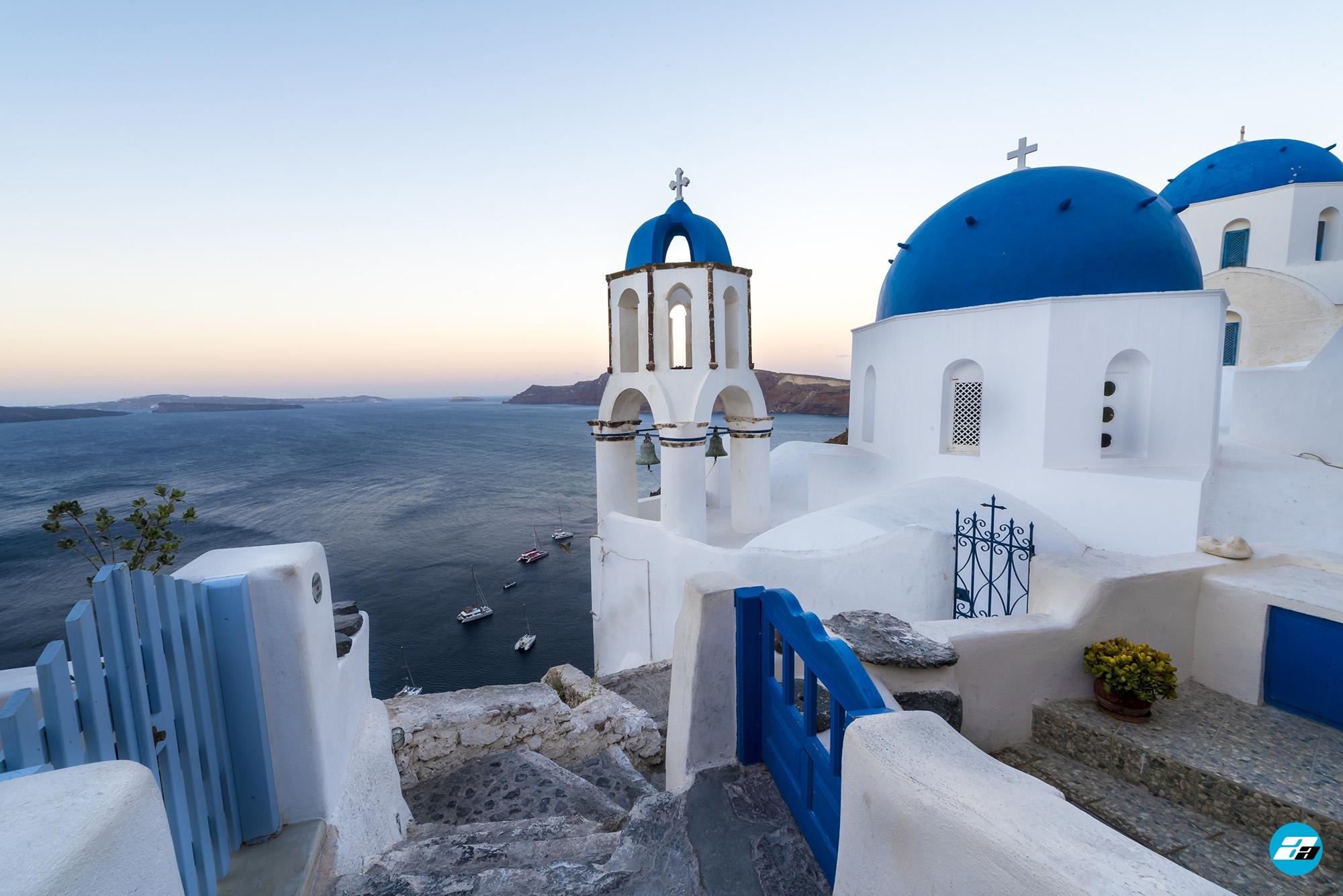Oia, Santorini, Greece. Blue Domes of Oia. Santorini View.