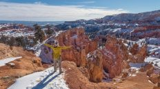 Bryce Canyon National Park, Utah, Arizona. Canyon View. Winter Season. Hiker. Explorer.