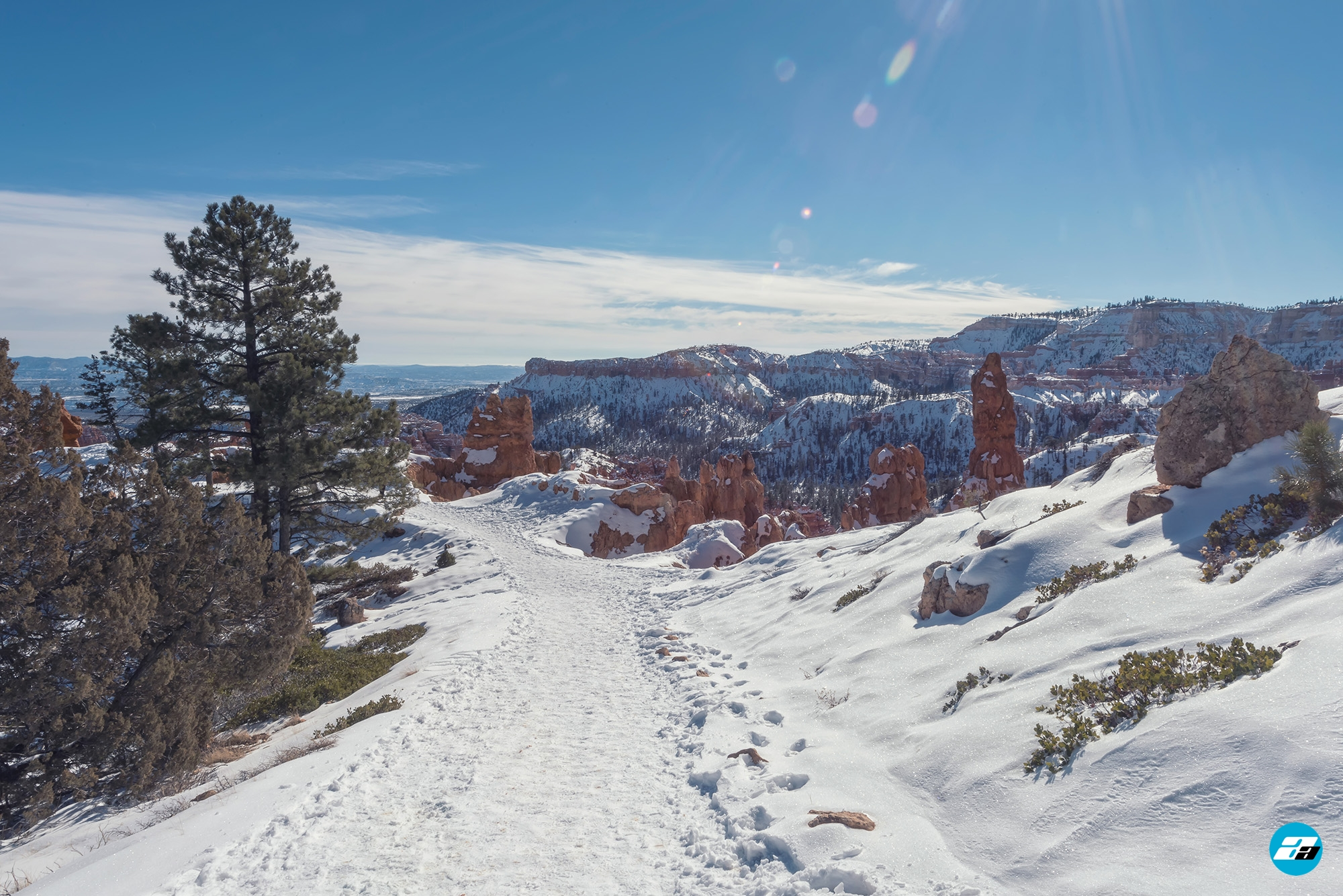Bryce Canyon National Park, Utah, Arizona. Show Path. Snow View.