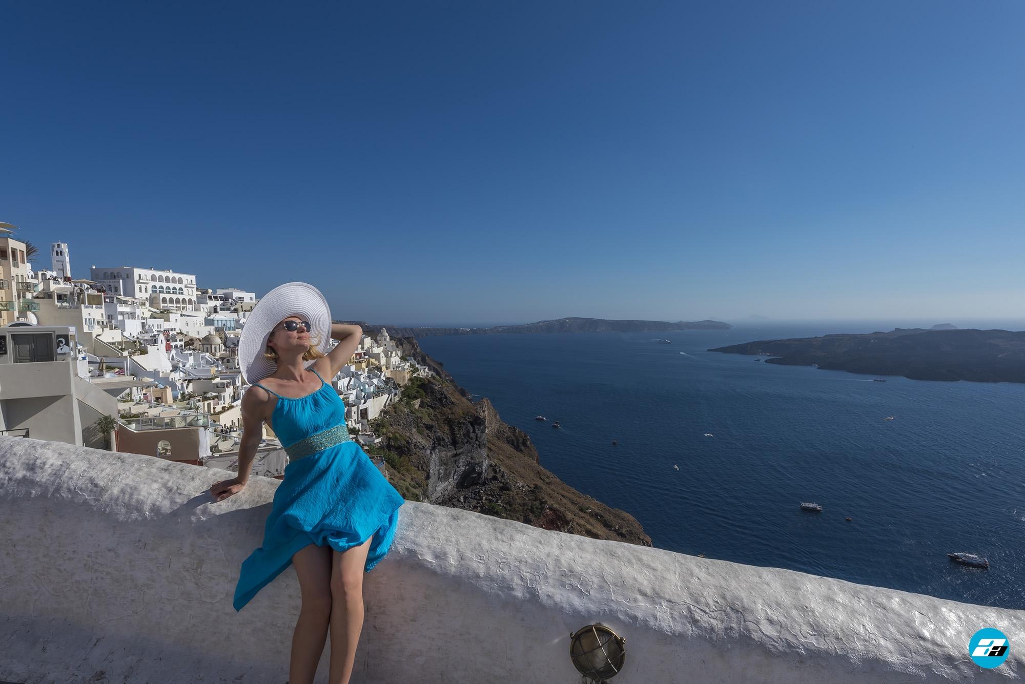 Fira, Santorini Greece. Santorini Capital. Fashion model. Blue Dress.