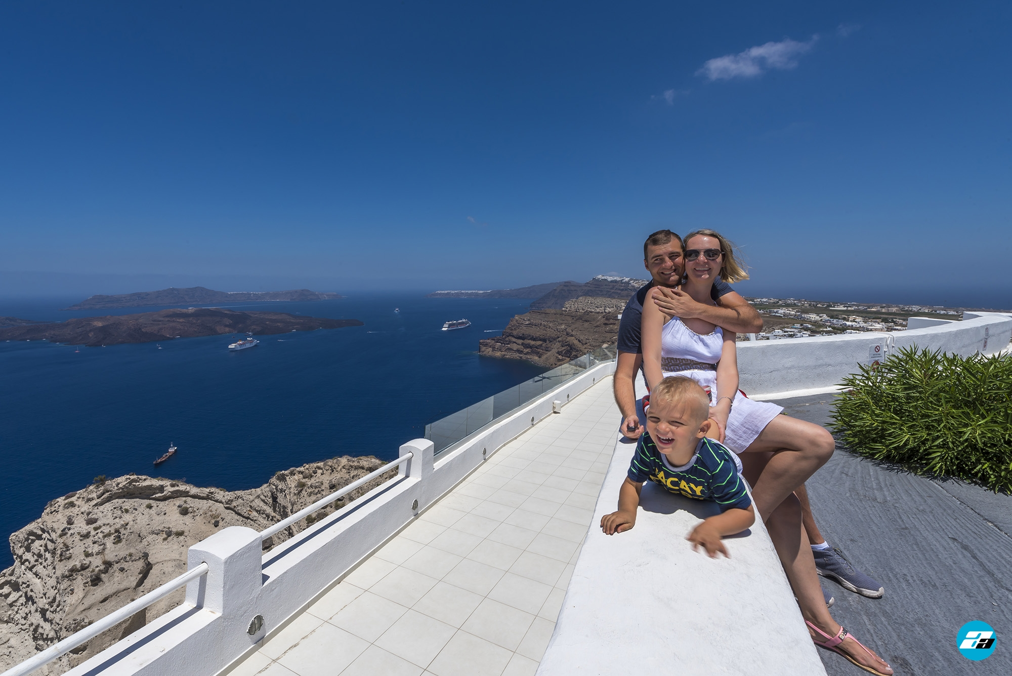 Santorini Greece. Happy Family.