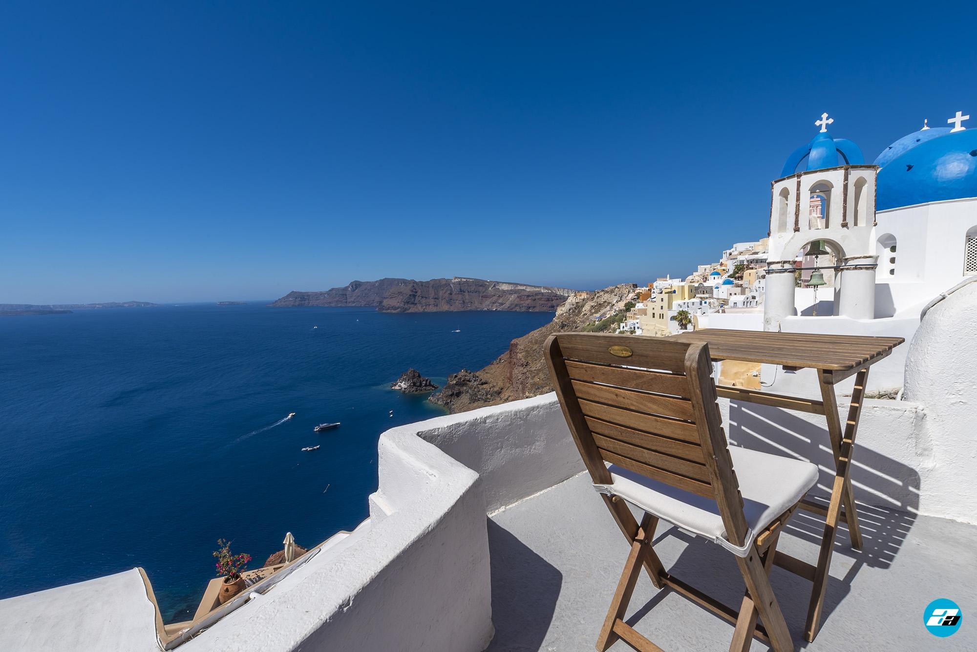 Oia Santorini Greece. Blue domes of Oia.