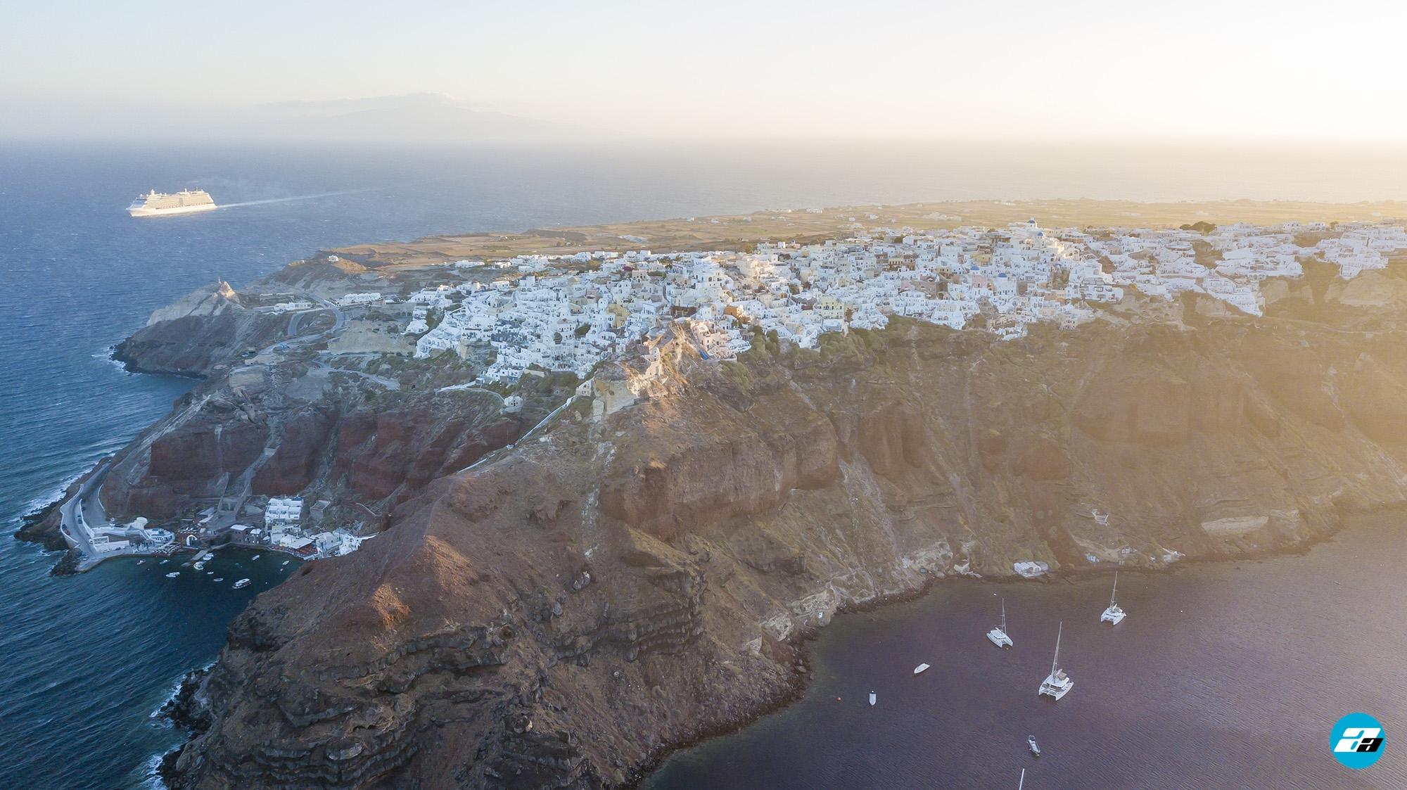 Oia Santorini Greece. Oia from above. Aerial photo.