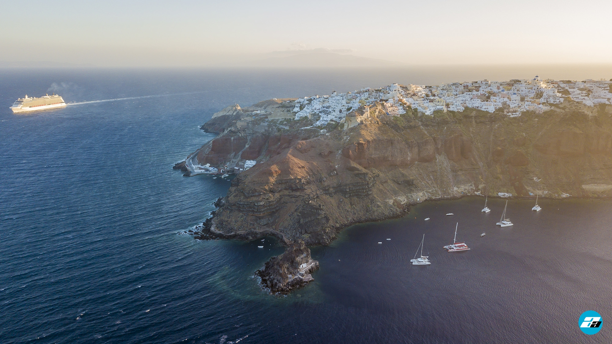 Oia Santorini Greece from Above. Aerial Photo. Santorini from above.