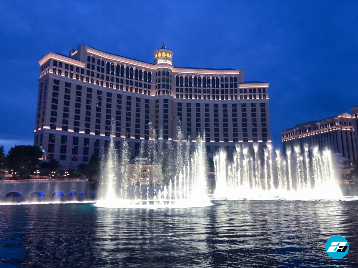 Las Vegas Bellagio Hotel, Nevada. Fountains during the night